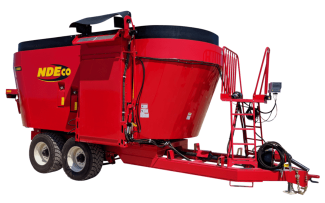 NDEco Vertical TMR Feed Mixer Dual Auger FS1200D 7.5' Side Conveyor
